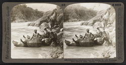 Inflating bullock-skin boats - for crossing the swift Himalayan River Sutlej, N. India